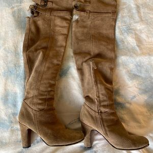 Sam Edelman Suede Over the Knee Heeled Boots Tan